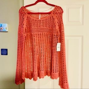 BNWT Free People coral crochet sweater size M